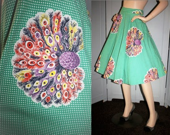 Vintage 50's Peacock Feathers Green Gingham Full Skirt. Large to XL