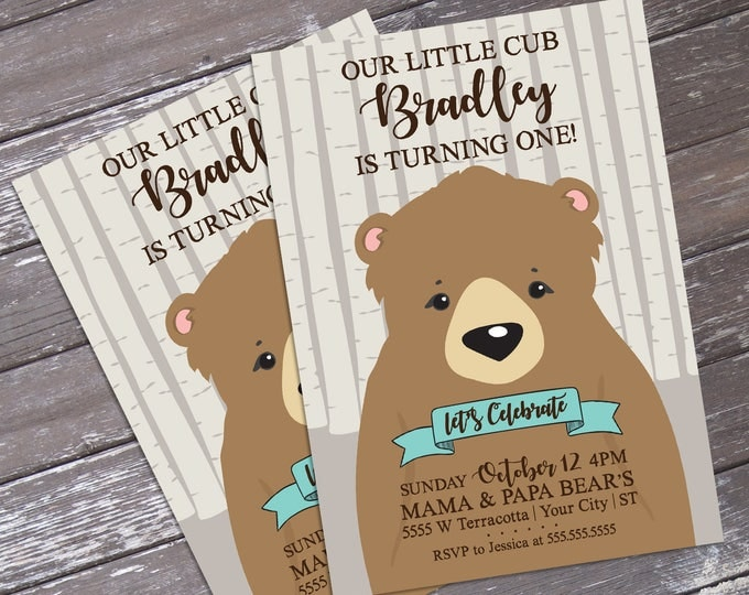 Little Cub/Little Bear Birthday Invitation, Forest Friends, Woodland. Trees | Editable Text - DIY Instant Download PDF Printable