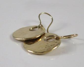 Solid 14K Hammered Gold Disk Earrings - Modern Fine Jewelry - Gold Earrings