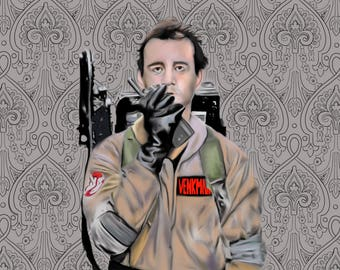 Bill Murray Ghostbuster's Art Poster Print Customize Color and Background 8x10 in Ghostnusters Art Poster Print Movie Poster Art Print