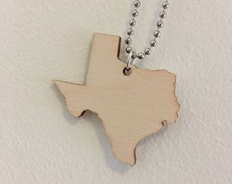 Texas Necklace, Wooden State Jewelry, State Shape, Wood Jewelry, Large Size
