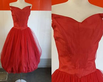 1950 Amazing Red Tulle Party Bubble Dress.
