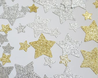Silver and Gold Glitter Confetti - STAR shape confetti - Gold and Silver Party/Wedding/Graduation/Event Decoration/Table Scatter