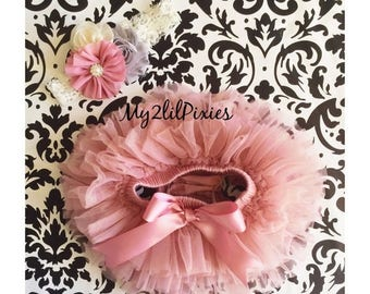 SALE Vintage Pink TUTU Bloomer and Headband,all around ruffle bloomer,Baby Bloomers,Headbands,Newborn tutu,cake smash,Photo prop- Ready to s