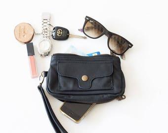 Wristlet wallet black leather, womens phone wallet with strap phone case zipper wallet phone case - Thalia Wallet