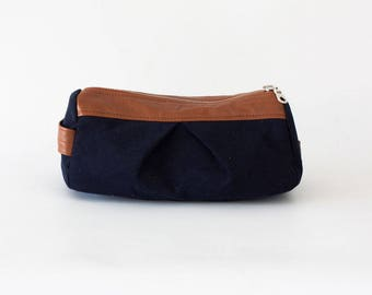 makeup bag in blue cotton and Brown leather, accessory bag pencil pouch cosmetics case toiletry storage case - Estia Bag