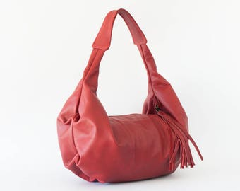 SALE Leather hobo bag in red, shoulder purse small shoulder bag hobo purse women red bag everyday purse - Mini Kallia bag