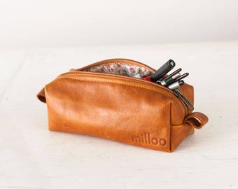 Brown leather pencils case, rectangular accessory bag purse case glasses markers zipper pouch - The Rec pencil case