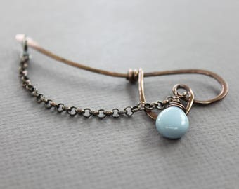 Shawl pin, scarf pin stick in blooming heart style with blue opal stone dangle - Lapel pin - Stone fibula - Cardigan clasp - SP074