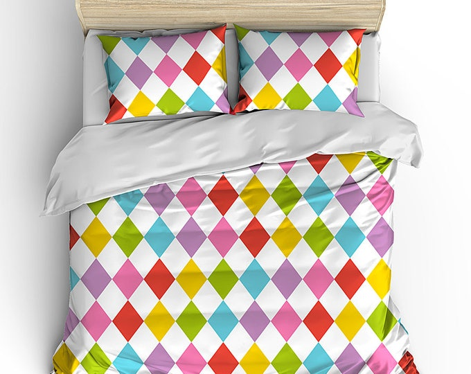 Bedding Duvet, Rainbow Harlequin, Preppy Room Decor, Grad Gift, Dorm Decor, Teen Room Decor, Bedding Set, Matching bed set, teen rainbow set