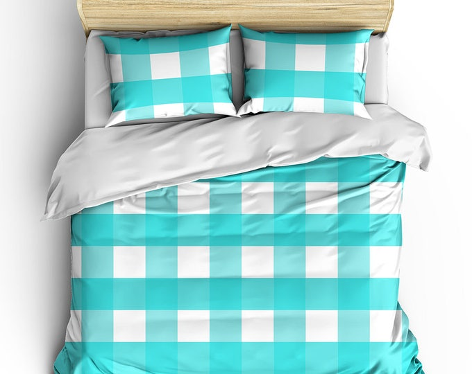 Bed Duvet Cover, Gingham Check Bed Set, Aqua Bed Set, Wedding Gift, Teen Bedroom Decor, Grad Gift, Dorm Decor, Men's Bedding, Cottage Chic