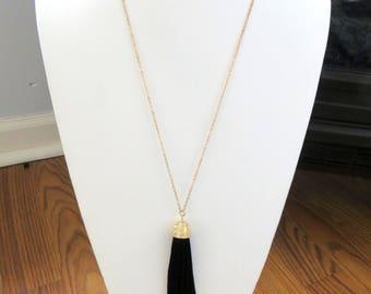 Tassel Necklace/ Tassel Pendant/Black Tassel Necklace