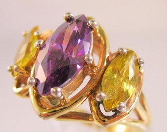 SHIPS 6/26 w/FREE Jewelry Amethyst & Citrine 3 Stone Marquis Ring Size 7.5 Gold Plated Vintage Jewelry Jewellery