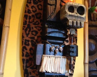 custom handmade carved wood witch doctor tiki wall sconce lamp