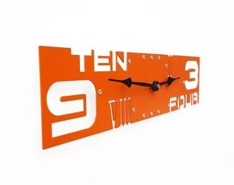 Outnumbered IV, Large Wall Clock, Orange Wall Clock, Unique Wall Clock, Modern Wall Clock, Steampunk Wall Clock, Wall Clock Large