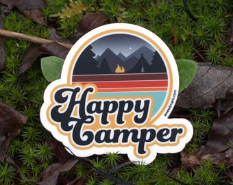 HAPPY CAMPER : Outdoorsy Stickers, Camplife, Campfire, Outdoorsy Stickers, Camping, Die Cut, EDC