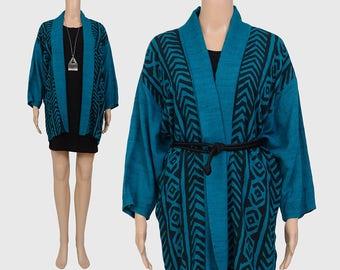 Vintage 90s Tribal Striped Jacket | Bohemian Festival Kimono Jacket | Dolman Sleeves | Draped Oversize Jacket | Teal Black | size S M