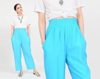 Vintage 90s Blue Pants | Elastic Waist Pants | Minimalist Pants | High Waist Cropped Trousers | Bright Turquoise | Small Medium S M