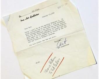 1962 Autograph/Letter Art Linkletter
