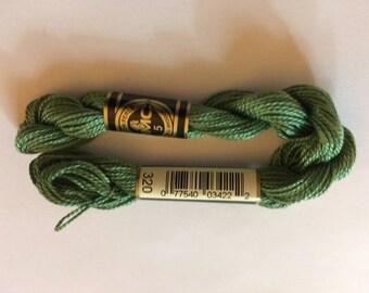 DMC Coton Perle 5 #320 Medium Pistachio Green 100% Mercerized Pearl Cotton Thread 27 yd skein for crochet, cross stitch, needlepoint