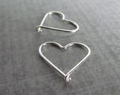 Tiny Heart Hoop Earrings, Silver Heart Earrings, Sterling Silver Wire Earrings Hearts, Small Hearts, Everyday Earrings, Hearts Silver Wire
