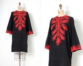 vintage 1970s dress / 70s cotton applique Pakistani dress /  black and red (medium m)