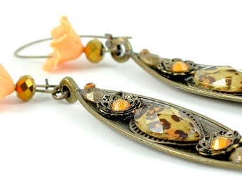 Brass earrings, handmade cold porcelain flowers, coral, glass beads, leopard pattern, exotic