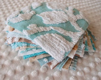 Vintage Chenille Fabric Quilt Squares - 15 - 6 inch squares, aqua & mocha/tan, all different - 500-287