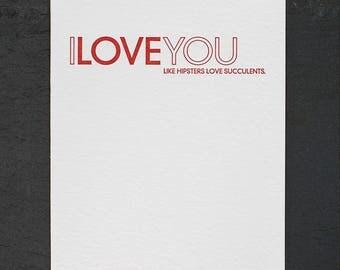 like hipsters. letterpress card. #460