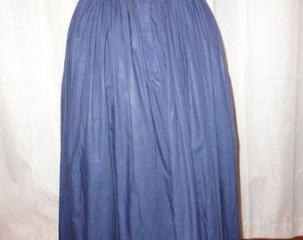Vintage Full Skirt Navy Blue Polished Cotton