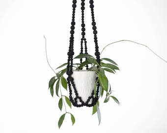 FELIX Hanging Planter .01 - Modern Plant Hanger - Black Wood Bead Planter