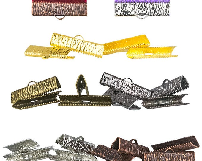 25mm or 1 inch Ribbon Clamps Ends Crimps with OR without Loop - 20 pieces in Mixed Finishes - Artisan Series