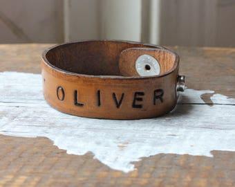 Leather Name Bracelet, Custom Leather Name Cuff Bracelet, Personalized Names Leather Bracelet for Men or Women