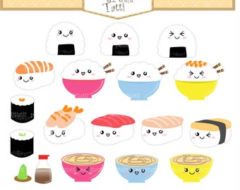 Kawaii Japanese Rice Bowl Clipart Clip Art - cute cooking utensil, kitchen clip art, Shishi Clip art INSTANT Download Digital clip art