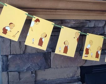 a children's storybook bunting, 'the carrot seed', story by ruth krauss