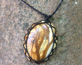 Jasper Macrame Necklace with black macrame string