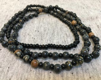 Jasper Beaded Necklace, Long Beaded Necklace, Earthy Jewelry, Boho Jewelry, Gifts for Her, Womens Jewelry, Boho Necklace, Long Necklaces
