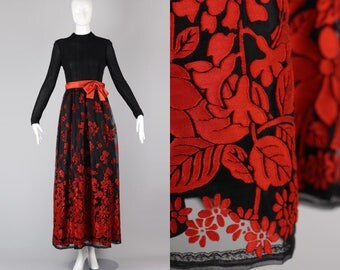 Late 60s Early 70s Lurex & Burnout Tulle Huey Waltzer Maxi Dress