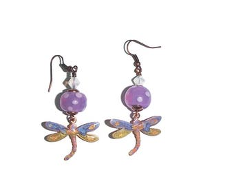 Whimsical Dragonfly Earrings REactive Paint Copper Dragonfly Lampwork Earrings