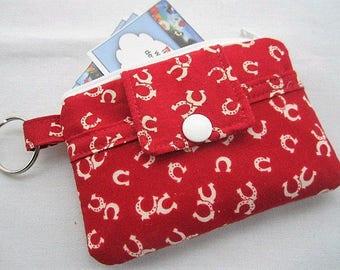 Zipper Wallet Pouch Key Chain Card holder - Horse shoes
