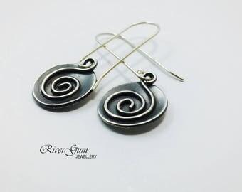 Silver Disc Earrings, Silver Circle Earrings, Long Dangle Swirl Earrings, Argentium Silver Earrings, Oxidized Earrings