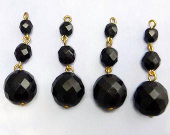 Black Glass Beads Vintage Faceted Bead Drop Jet Earrings B-254