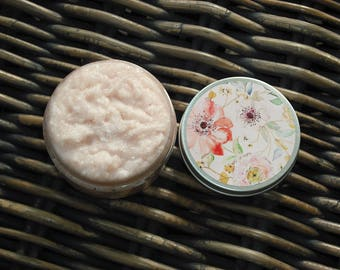 Salt Scrub / Himalayan Pink Sea Salt Scrub with Argan Oil / 4 oz / Floral Labeled Lid Containers
