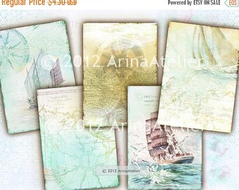 SALE - 30%OFF - Maritime - Ocean Boats - digital Collage Sheet - 2,5x3,5 ATC CArds - Digital tags