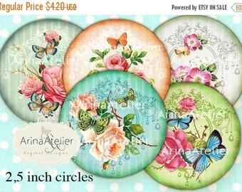 SALE 30% OFF - CIRCLES 2.5 inch & 1.5 inch - Vintage Butterflies and Flowers - digital collage sheet - pocket mirrors, tags, scrapbooking, c