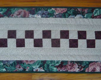 "Handmade Quilted & Appliqued Blossoms Table Runner - 15"" x 39"""
