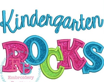 Back to School shirt  - Kindergarten Rocks Applique Shirt - First day of school - Personalized  school shirt- All grades available