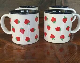 Vintage Set of 4 Mugs, Potpourri Press, 1980s Strawberry Motif, 80s Kitchen, Potpourri Press Strawberry Mugs, Greensboro NC