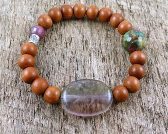Sandalwood Bracelet, Ruby Zoisite, Fluorite Bracelet, Beaded Bracelet, Boho Bracelet, Ruby, Hill Tribe Silver