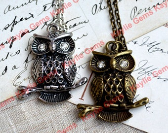 Owl Charm Pendant Antique Silver With Chain Necklace